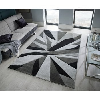 Rugs With Flair Hand Carved Shatter Rug Black Grey