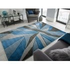 Hand Carved Shatter Rug Blue