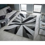 Hand Carved Shatter Rug Black Grey
