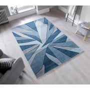 Hand Carved Shatter Rug Denim
